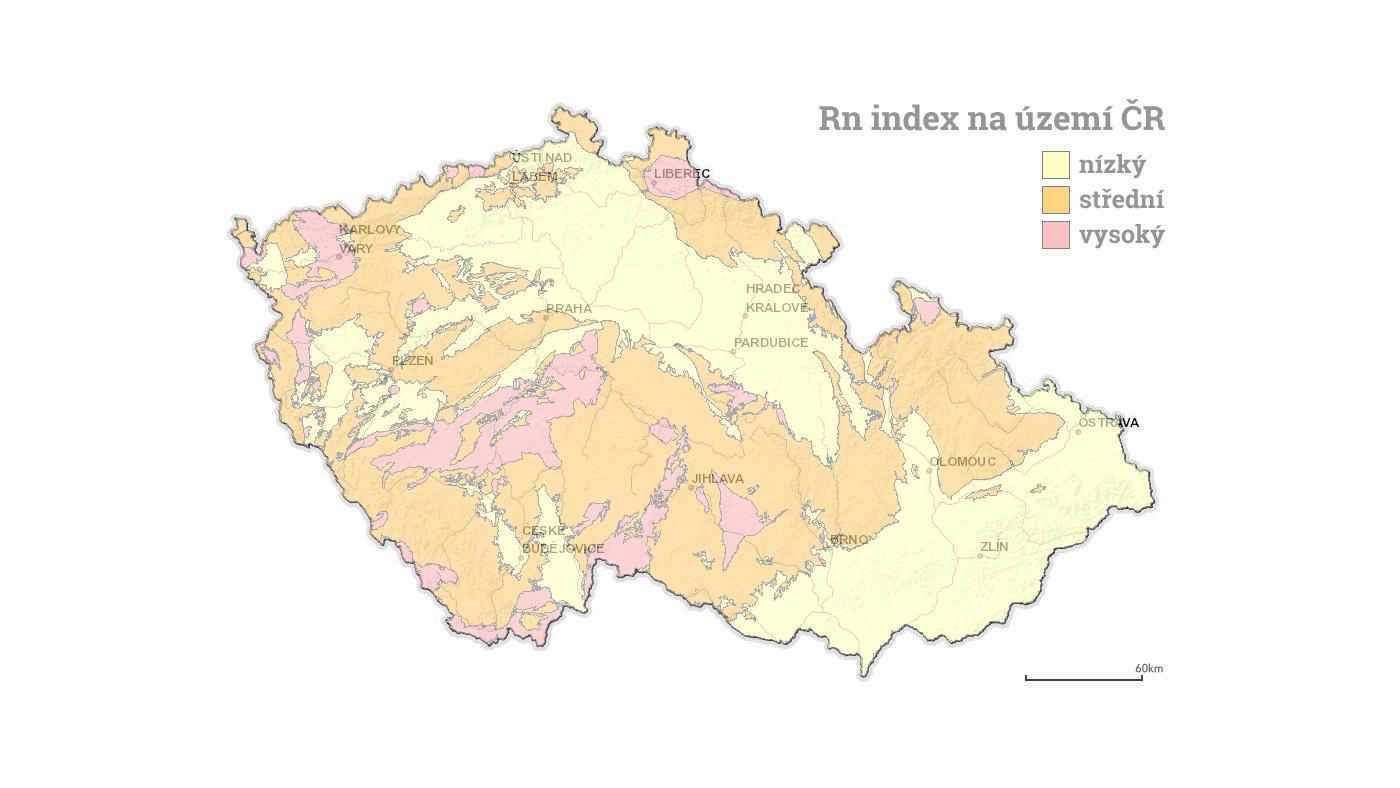 Mapa Rn indexu v ČR - Izolace proti radonu