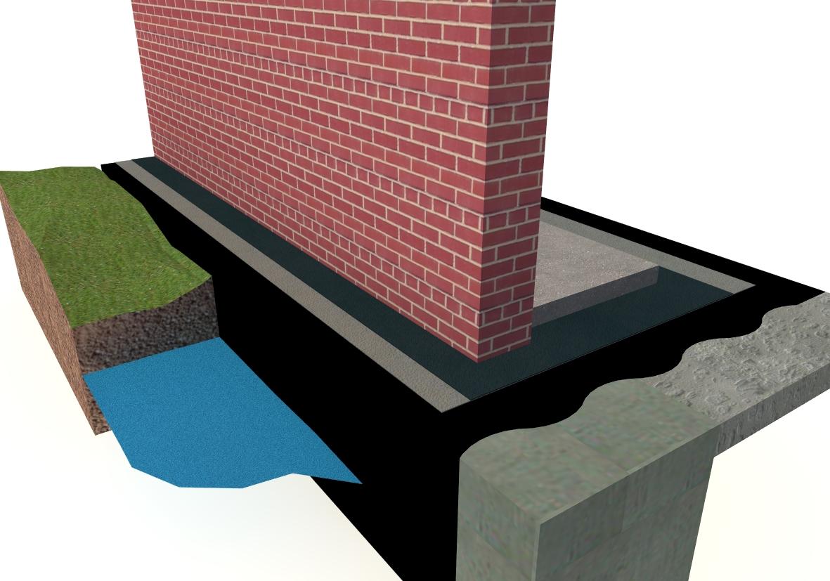 Příklad řešení hydroizolace proti vodě při základové desce stavby nad terénem