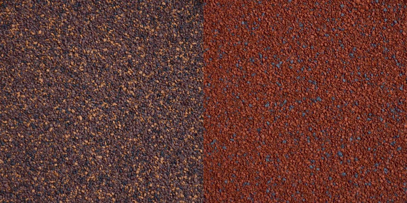 Asfaltový pás s posypem – hnědý a červený