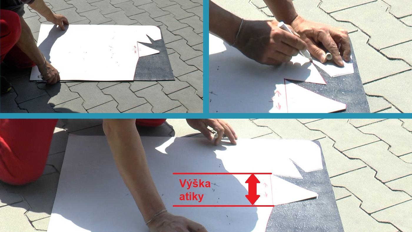 Práce se šablonou při pokládání asfaltového pásu v rohu